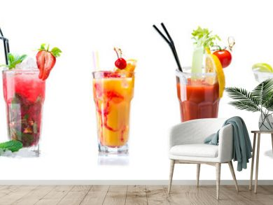 Set of cocktails isolated