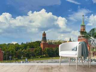 Panoramic view on Moscow Red Square, Kremlin towers, stars and Clock Kuranti, Saint Basil's Cathedral church Ivan bell tower. Panorama from hotel Russia. Moscow holidays vacation tours Putin residence