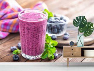 Yogurt or smoothie with fresh blueberry