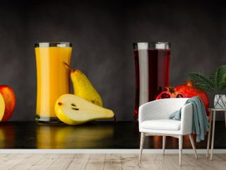 Collage of Fresh Fruit Juice Drinks in Glass