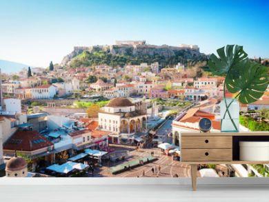 Skyline of Athenth with Moanstiraki square and Acropolis hill, Athens Greecer, retro toned