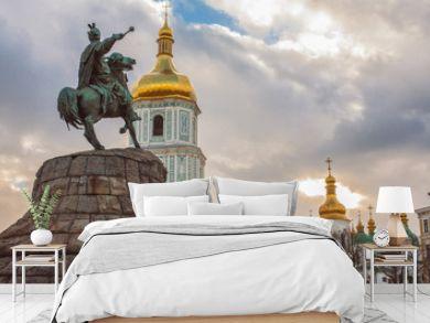Bohdan Khmelnytsky Monument, Saint Sophia Cathedral, view from Sophia square. Kiev, Ukraine