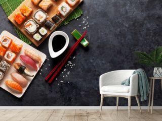 Set of sushi and maki