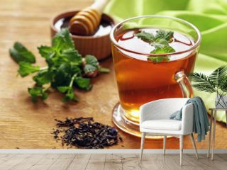 Mint flavored tea in a glass cup
