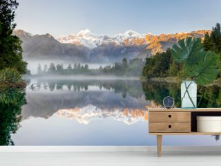 Southern alps with Mount Cook and Mt. Tasman reflected in Lake Mathesson, New Zealand
