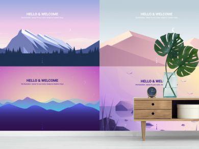 Vector banners set . Landscape illustration . flat design
