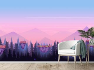 Cartoon Night Game Background , seamless background for games mobile applications and computers. Vector illustration for your design