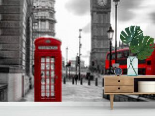 red bus and telephone box in front of Big Ben