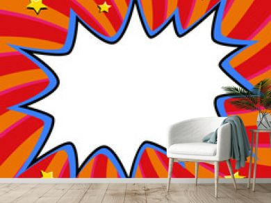 Pop art styled speech bubble template for your design. Comics pop-art style empty bang shape on a multi color twisted background.