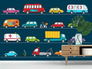Hand drawn doodle cartoon collection of colorful cars and transportation