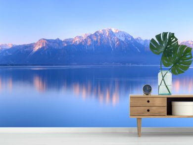 Switzerland Landscape : Lake Geneva of Montreux at sunrise