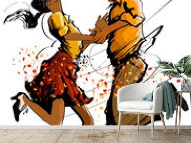 Woman and man dancing swing