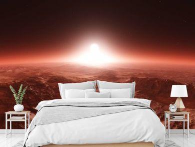 Mars from orbit, panorama of Mars, Marsim landscape, sunrise over Mars, 3D rendering