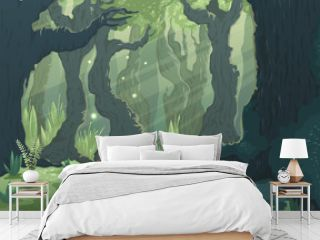 Forest landscape with trees, river and bridge. Cartoon fairytale scenery background. Vector illustration.