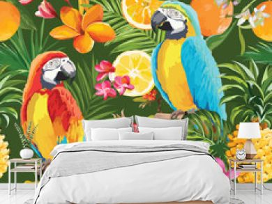 Seamless Tropical Fruits and Parrot Pattern in Vector. Pomegranate, Lemon, Orange Flowers, Leaves and Fruits Background.