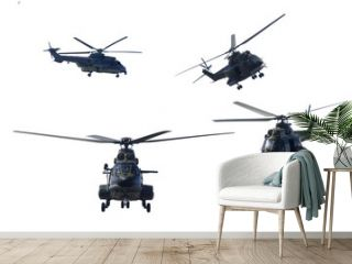Four military helicopters doing demonstrations