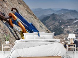 Rock Climbing Anchor and Bolts with Mountain Vista