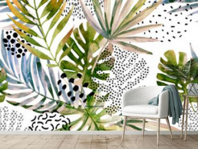 Abstract palm, monstera leaf seamless pattern.