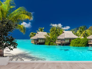 Holiday location on a tropical island with palm trees and amazing vibrant beach