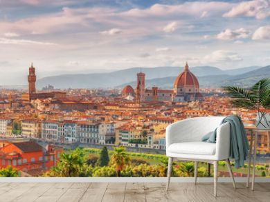 Beautiful landscape above, panorama on historical view of the Florence from  Piazzale Michelangelo point .Italy.
