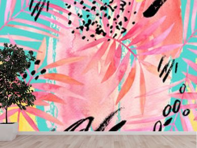 Watercolour pink colored palm leaf and graphic elements painting.