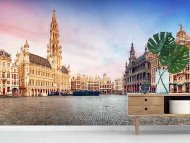 Brussels, panorama of Grand Place in beautiful summer day, Belgium