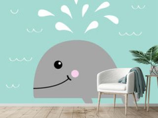 Gray whale with water fountain. Sea ocean life. Cute cartoon character with eyes, tail, fin. Smiling face. Kids baby animal collection. Flat design Blue wave background Isolated.