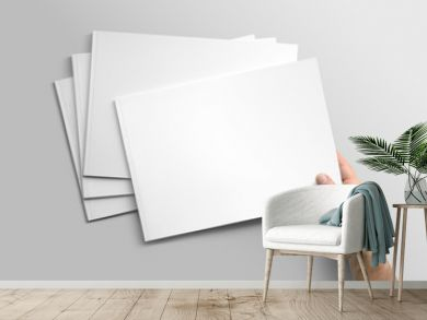 Blank A4 photorealistic landscape brochure mockup on light grey background.