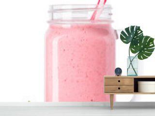 strawberry smoothie isolated on white