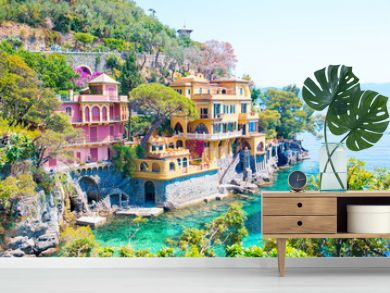 Beautiful sea coast with colorful houses in Portofino, Liguria, Italy. Summer stunning landscape.