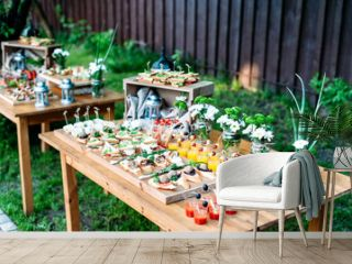 Beautiful catering banquet buffet table decorated in rustic style in the garden. Different snacks, sandwiches and cocktails. Outdoor.