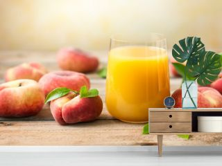 Fresh peaches juice in glass