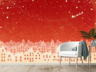 クリスマスの雪景色シルエット