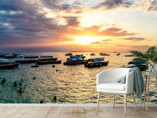 Sunset of Stone Town in Zanzibar, Tanzania. Zanzibar is a semi-autonomous region of Tanzania in East Africa.
