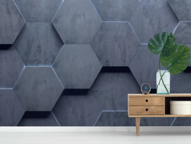 Concrete Wide Hexagon Background (Site head) (3d illustration)