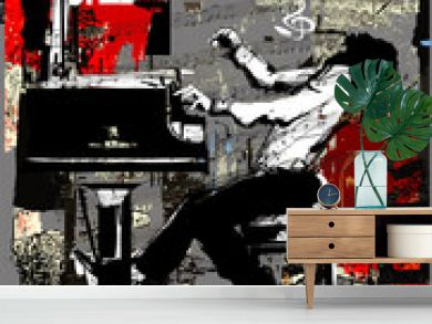 Jazz poster with pianist over grunge background