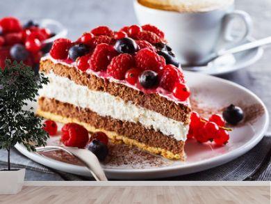 Slice of gourmet fresh berry cake