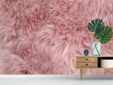 Pink sheepskin rug background sheep fur Wool texture