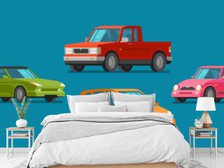 Cars, set of icons. Vehicle, automobile, garage, transport, car service concept. Cartoon vector illustration