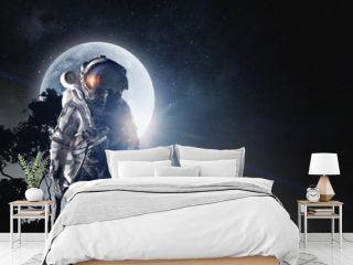 Spaceman in astronaut suit. Mixed media