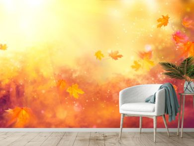 Fall background. Autumn colorful leaves and sun flares