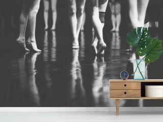 legs of young dancers ballerinas in class classical dance, ballet , Thailand