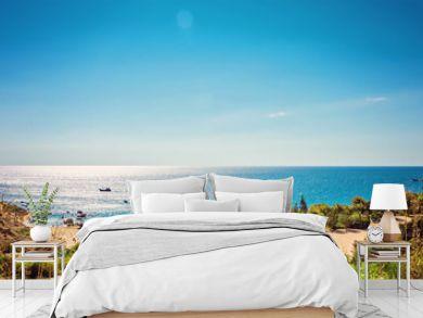 Cyprus Protaras, Konnos beach, view of lagoon Mediterranean Sea from above