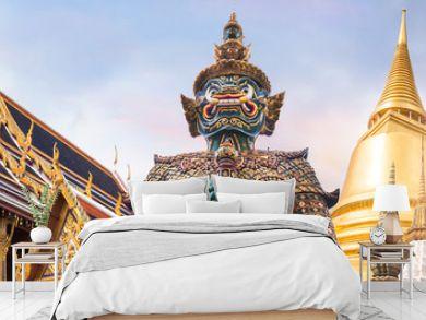 Wat Phra Kaew, Emerald Buddha temple,  Wat Phra Kaew is one of Bangkok's most famous tourist sites
