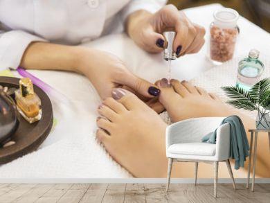 Pedicure at beauty salon. Nail polishing. Close up.