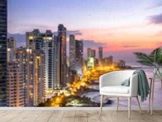 Cartagena de Indias skyline at dusk, Colombia.