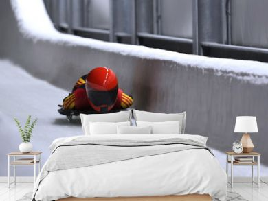 skeleton bob sled in ice channel