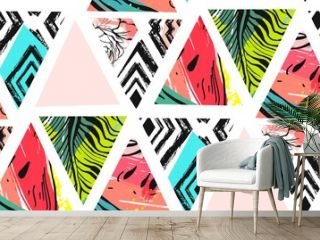 Hand drawn vector abstract unusual summer time decoration collage seamless pattern with watermelon,aztec and tropical palm leaves motif isolated on white background