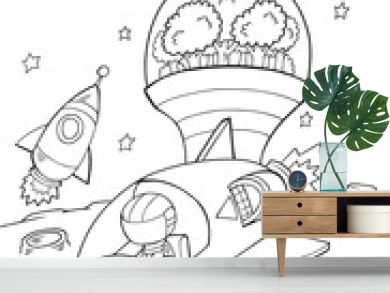 Outer Space Spaceship Vector Illustration Art