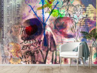 Murales,collage e graffiti con teschio e simboli astrologici,alchemici ed esoterici